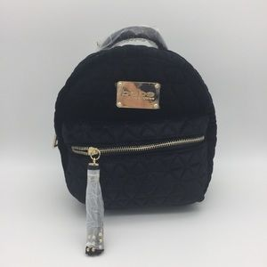 NWT BEBE MARGEAUX BACKPACK BLACK VELVET GOLD PA1*